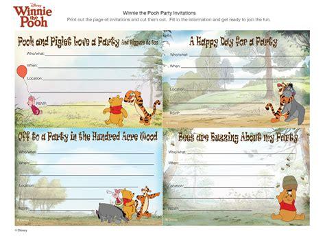 Winnie The Pooh Birthday Invitation Cards Winnie The Pooh Party Invitations Disney Family