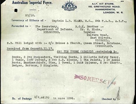 Ww1 Records Australian Imperial What The Average Anzac Took Into Service With Him And