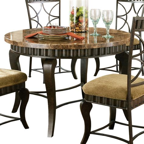 steve silver hamlyn round dining table with marble top and
