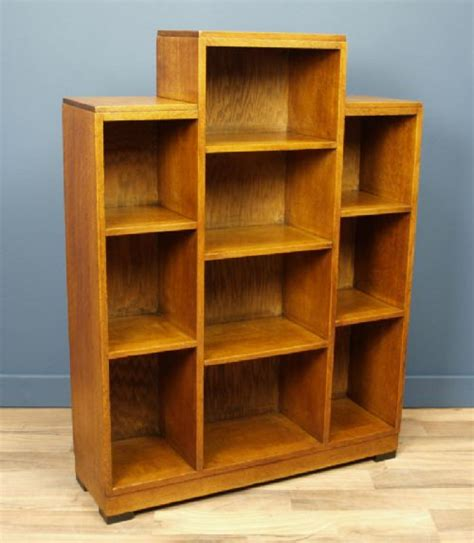 deco oak stepped bookcase circa 1930 339501