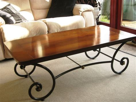 wrought iron and wood coffee table wood and iron coffee table design thelightlaughed com