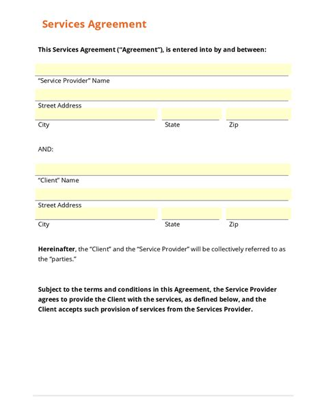general service agreement template free business form template gallery