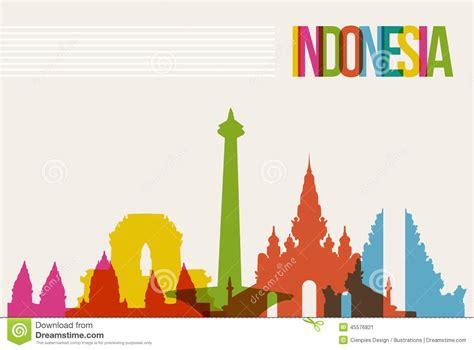 indonesia detailed skyline vector illustration stock travel indonesia destination landmarks skyline background
