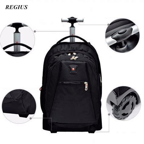 Travel Bag Tas Travel high quality designer black s aluminum trolley luggage travel bag wheeled backpack light