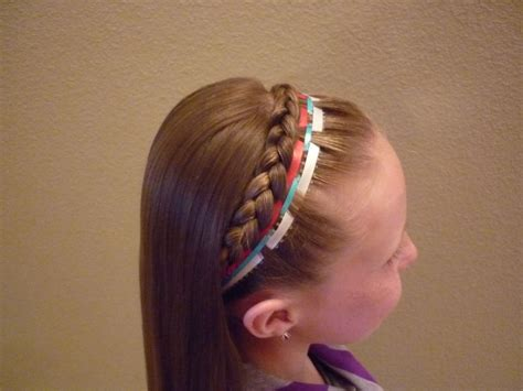 hairstyles with ribbon headband french braid headband ribbon 4th of july hairstyle youtube
