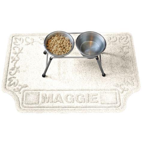personalized pet mat in pet bowls