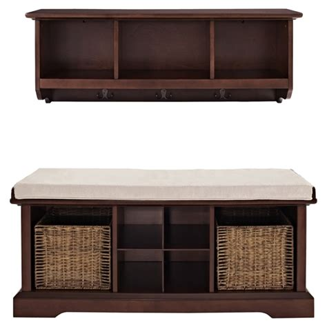 bench and shelf set brennan 2 pieces entryway bench and shelf set mahogany