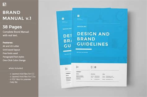 design form brochure a brand manual template of 38 pages in a4 and us letter
