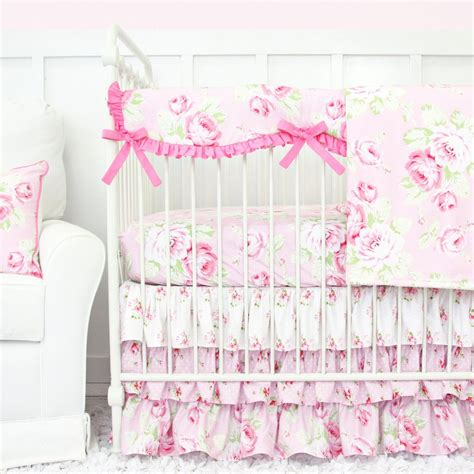 shabby chic crib bedding shabby chic bumperless ruffle crib bedding caden lane