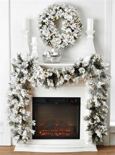 elegant lighted garland details about flocked snow look pre lighted wreath garland indoor decor