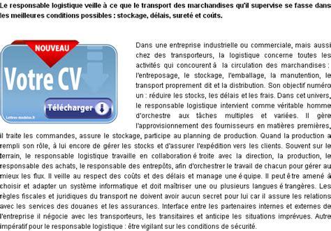Exemple De Lettre De Motivation Responsable Logistique mod 232 le et exemple de lettre de motivation responsable
