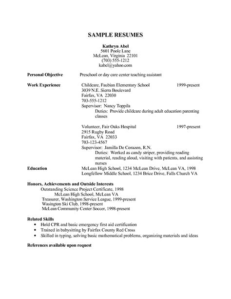 sle resume for child care assistant okl mindsprout co