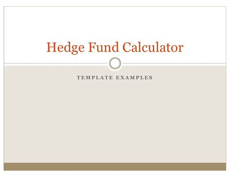 Hedge Fund Tearsheets Created By The Hedge Fund Calculator Hedge Fund Presentation Template