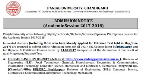 Panjab Mba Admission 2017 by Panjab Admission Form 2017 18 Ug Pg