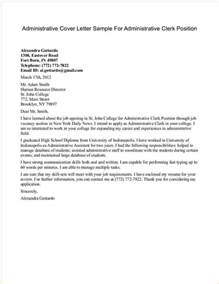 cover letter for a position administrative cover letter sles business