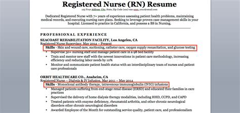 exle of nursing resume skills registered rn resume sle tips resume companion