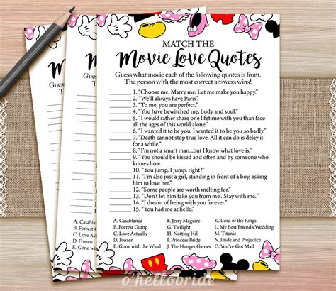 movie love quote match game printable floral bridal shower movie love quote match game printable disney bridal shower