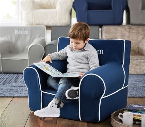 navy couch white piping navy with white piping anywhere chair 174 pottery barn kids