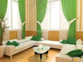 Green curtains in living room