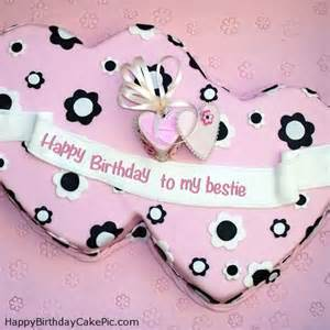 double hearts happy birthday cake for to my bestie