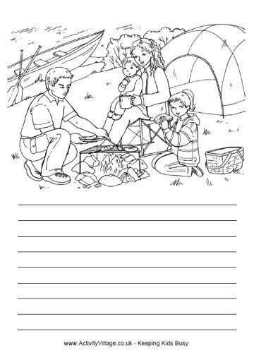 printable handwriting paper activity village cing trip story paper