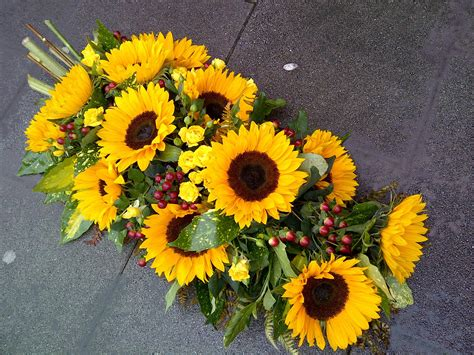 sunflower funeral spray
