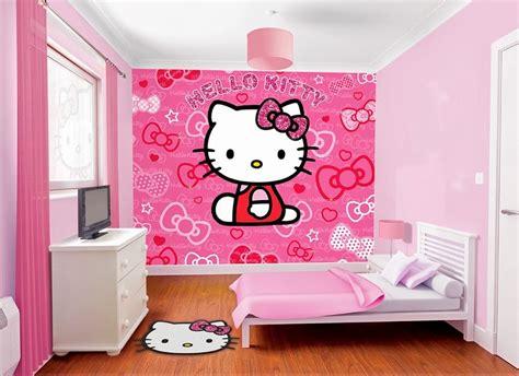 Desain Dinding Kamar Hello Kitty | kamar tidur dengan wallpaper dinding hello kitty untuk