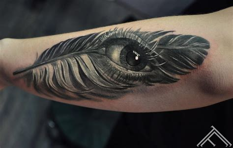 Feather Tattoo Near Eye | maris pavlo gallery tattoofrequency tetovēšanas