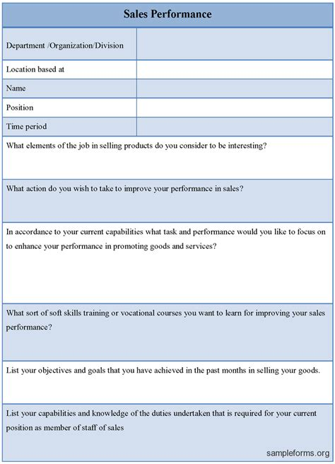 Sales Performance Form Sle Forms Salesperson Performance Review Template