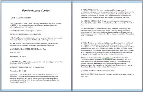 commercial lease contract template free template downloads