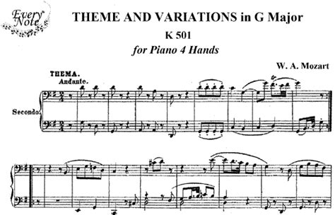 definition theme and variations in music mozart theme and variations in g major k 501 piano
