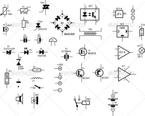 resistor symbol illustrator schematic symbols for electronic components graphicriver