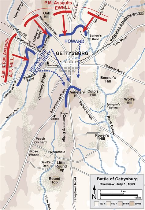 day map and longstreet at gettysburg end of day