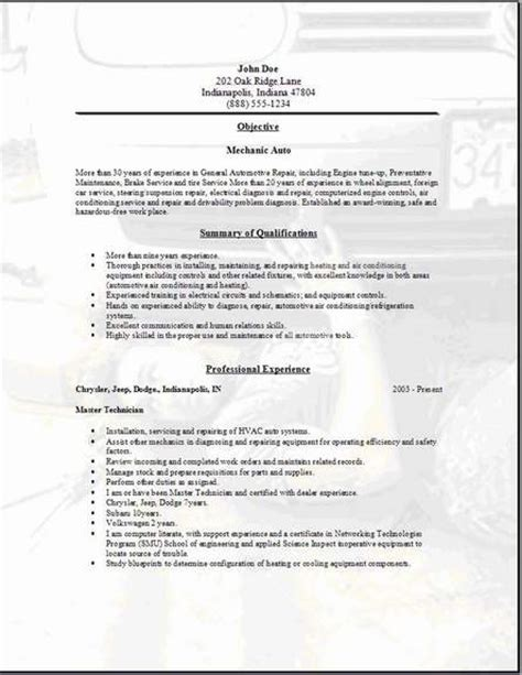 Automotive Resume Objective by Mechanic Auto Resume Occupational Exles Sles Free Edit With Word
