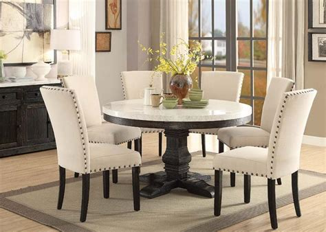 marble breakfast table sets 54 quot nolan white marble top dining room set acme 72845