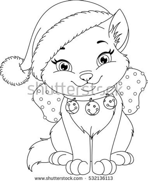 christmas coloring pages with cats coloring page stock images royalty free images vectors