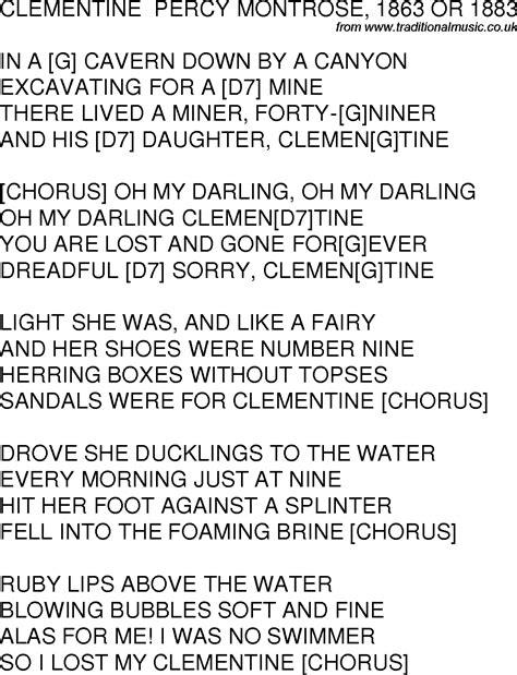 clementine lyrics oh my clementine lyrics