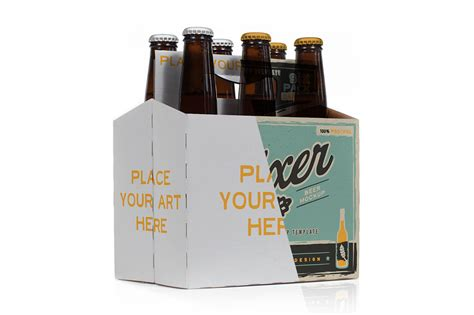 Bottle Carrier Template by Six Pack Bottle Carrier Mock Up Product Mockups On