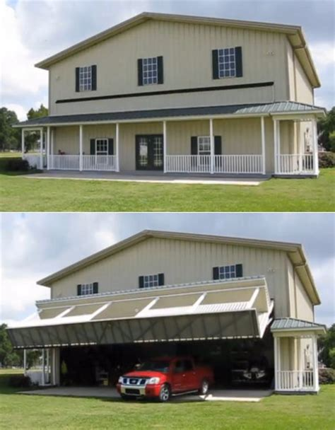 house garage transform and roll out hangar garage looks inconspicuously like plain ol back of house