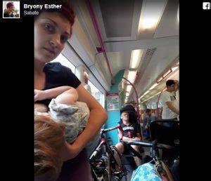 sedere inglese inghilterra allatta in piedi su un treno nessuno la fa