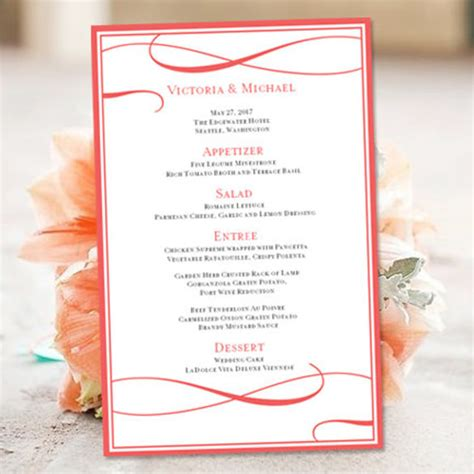 free printable menu templates for wedding 18 free wedding templates in microsoft word format