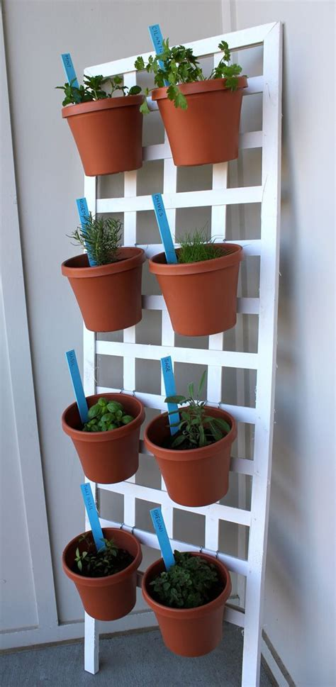 Diy Vertical Herb Garden Diy Space Saving Herb Garden Gardens Lattices And