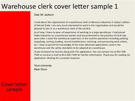 cover letter exles for warehouse