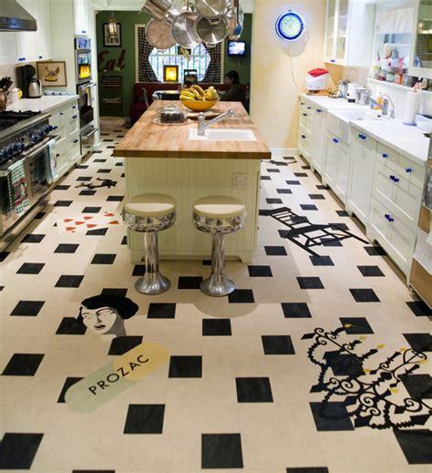 crazy fun linoleum eclectic kitchen los angeles by
