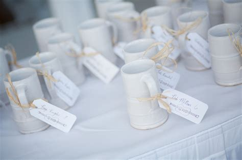 Customized Wedding Giveaways - unique wedding favors coffee mugs tied with thanks onewed com