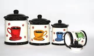 Coffee Themed Kitchen Canisters by Tuscany Colorful Coffee Bean Hand Painted Canister Set Of