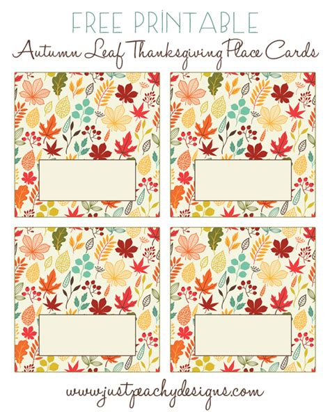 Just Peachy Designs Free Printable Thanksgiving Place Cards Thanksgiving Place Cards Template