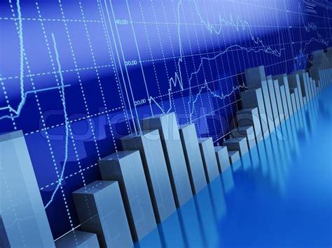 blue analysis 3d illustration of business graphs background blue colors
