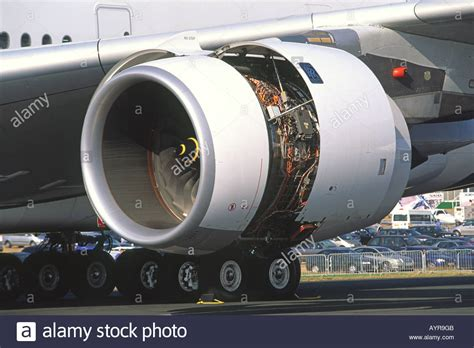 airbus a380 engines rolls royce rolls royce trent 900 jet engine on an airbus a380 stock