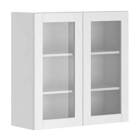 Glass Door Kitchen Wall Cabinet Fabritec 30x30x12 5 In Amsterdam Wall Cabinet In White Melamine And Glass Door In White Wg3030